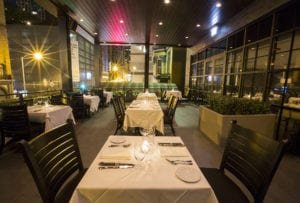 Steak 48 outdoor seating has 800-square-foot outdoor patio with two fire places.