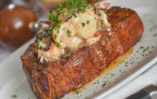 steak topped with lobster